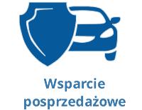 Ikona tarczy i samochodu, symbolizującą wsparcie posprzedażowe